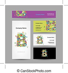 Set of business cards with floral letter B design