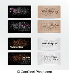 Set of Business Cards with Leather Background