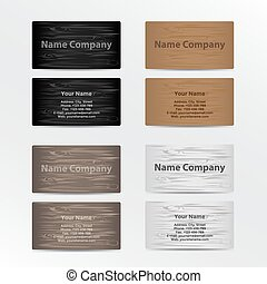 Set of Business Cards with Wood Texture