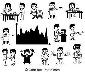Set of Business Cartoons Vectors