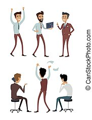 Set of Business Characters Vectors Illustrations.