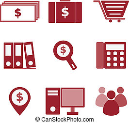 Set of business color icons on white background