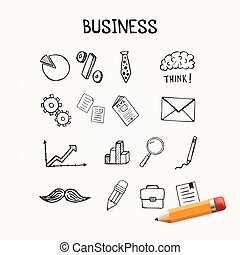 Set of business doodles, vector icons hand drawn