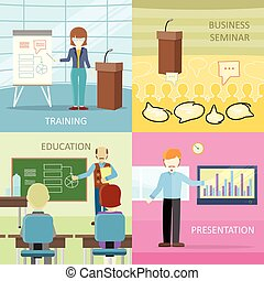 Set of Business Education Concepts in Flat Design.
