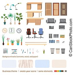 Set of business elements and furniture to create your own office interior scene.