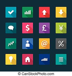Set of business flat icons, vector illustration
