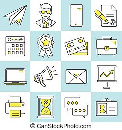 Set of business flat line icons