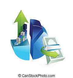 set of business graphs illustration design
