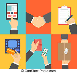 Set of business hands action concepts