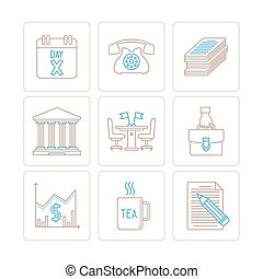 Set of business icons and concepts in mono thin line style