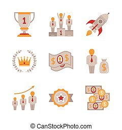 Set of business icons and concepts in flat style