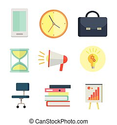 Set of Business Icons in Flat Style Design.