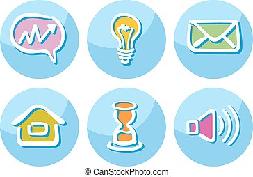 Set of business icons lightbulb megaphone paper
