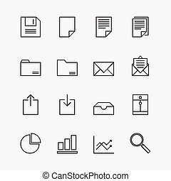 Set of business icons outline vector illustration
