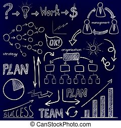 Set of business icons. Plan, team work, graph, light bulb, money sign, hand drawn arrows, organization scheme, management system. VECTOR doodle icons. White on blue