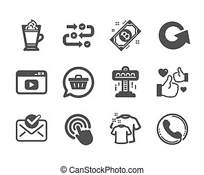 Set of Business icons, such as Approved mail, Clean t-shirt, Bitcoin. Vector