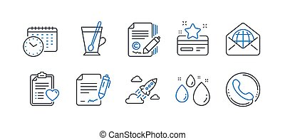 Set of Business icons, such as Calendar time, Copywriting, Loyalty card. Vector