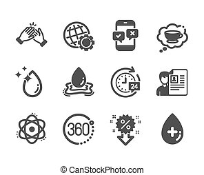Set of Business icons, such as Clapping hands, Globe, Discount. Vector