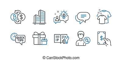 Set of Business icons, such as Clean t-shirt, Idea, Surprise package. Vector