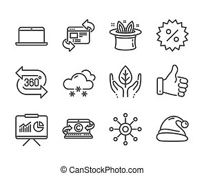 Set of Business icons, such as Copywriting notebook, Like hand, Multichannel. Vector