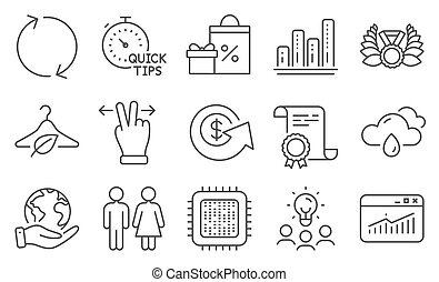 Set of Business icons, such as Cpu processor, Restroom, Touchscreen gesture. Vector
