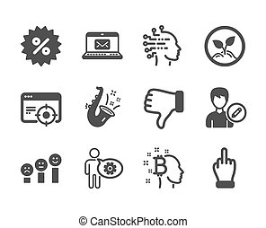 Set of Business icons, such as Discount, Jazz, Startup. Vector