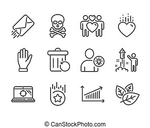 Set of Business icons, such as E-mail, Hand, Chemical hazard. Vector