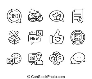 Set of Business icons, such as Financial documents, Loyalty points, Metro subway. Vector