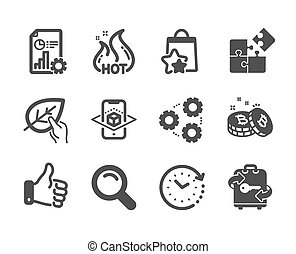 Set of Business icons, such as Gears, Loyalty points, Bitcoin. Vector