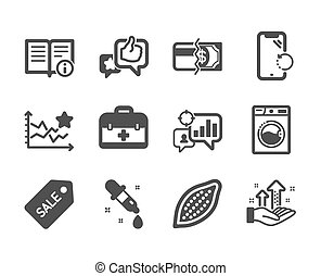 Set of Business icons, such as Like, Analysis graph, Washing machine. Vector