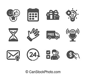Set of Business icons, such as Like, Calendar, Holiday presents. Vector