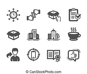 Set of Business icons, such as Like, Diploma, World time. Vector