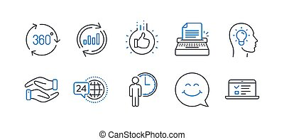 Set of Business icons, such as Like hand, 24h service, Smile face. Vector