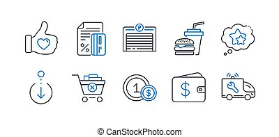 Set of Business icons, such as Like hand, Ranking stars, Hamburger. Vector
