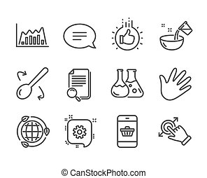 Set of Business icons, such as Like hand, Touchscreen gesture, Chat. Vector