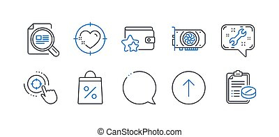 Set of Business icons, such as Loyalty program, Gpu, Seo target. Vector