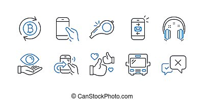 Set of Business icons, such as Mail, Hold smartphone, Like. Vector
