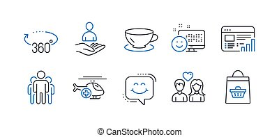 Set of Business icons, such as Medical helicopter, Web report, Couple love. Vector