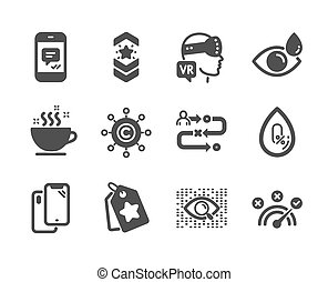 Set of Business icons, such as Message, Eye drops, Smartphone. Vector