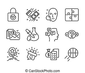 Set of Business icons, such as Messages, Loyalty points, Face search. Vector