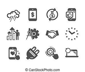 Set of Business icons, such as Mobile like, Money exchange, Seo target. Vector