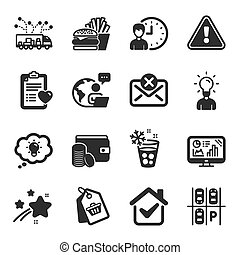 Set of Business icons, such as Parking place, Payment method...