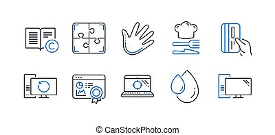 Set of Business icons, such as Payment card, Recovery computer, Food. Vector