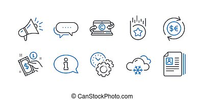 Set of Business icons, such as Payment method, Information, Snow weather. Vector