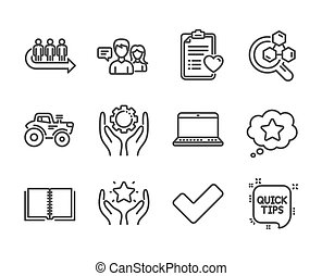 Set of Business icons, such as People talking, Chemistry lab, Queue. Vector