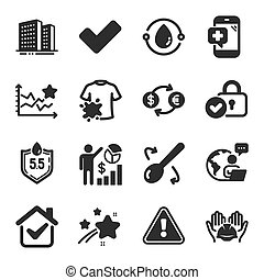 Set of Business icons, such as Ph neutral, Dirty t-shirt, Medical phone symbols. Tick, Cooking spoon, Seo statistics signs. Verified locker, Ranking stars, Currency exchange. Buildings. Vector