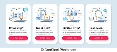 Set of Business icons, such as Private payment, Correct checkbox, Diploma symbols. Head line icons. Vector