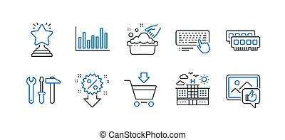 Set of Business icons, such as Ram, Hand washing, Hotel. Vector