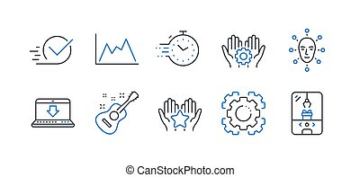 Set of Business icons, such as Ranking, Checkbox, Seo gear. Vector