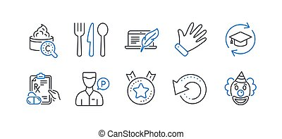 Set of Business icons, such as Recovery data, Food, Ranking star. Vector
